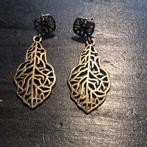 """1 3/4"""" bronzetone leaf look earrings"""